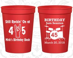 45th Birthday Party Cups, Promotional Birthday Party Cups, Still Rockin at 45, Birthday Jam Session, Birthday Party Cups (20069)