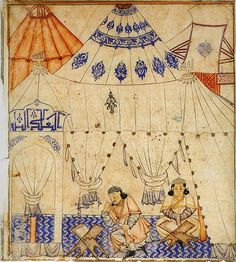 "A Mongol prince studying the Koran. Illustration of Rashid-ad-Din's Gami' at-tawarih. Tabriz (?), 1st quarter of 14th century. Water colours on paper. Original size: 20.3 cm x 26.7 cm. Staatsbibliothek Berlin, Orientabteilung, Diez A fol. 70, p. 8 no.1. This seems to be a tent mosque. The inscription above the arch on the left, which is either the entrance or the Mihrab, reads ""Allah is the ruler"" (or similar). File:DiezAlbumsStudyingTheKoran.jpg"