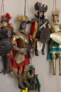 "Our collection of vintage handcrafted Sicilian marionettes called ""pupi"" that we have collected on our many trips to Italy."