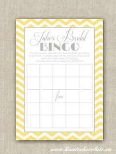 Bridal Shower Bingo Game. Print-it-Yourself Yellow & Gray Chevron Bridal Shower or Baby Shower Bingo. $6.00, via Etsy.