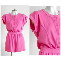 1980s pink romper from Rompin Rage SIZE M NEW with tags by TimeTravelFashions on Etsy