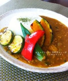 How are you today? How about making Lunch at Home! Japanese Dishes, Japanese Food, Vegetable Curry, Rice Bowls, Food Design, Caprese Salad, Junk Food, Thai Red Curry, Vegan Vegetarian