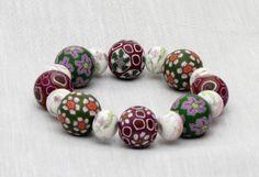 Porzellan Polymer Clay bracelet, fimo, beads, Lampwork Millefiori Armband  von filigran-Design   auf DaWanda.com