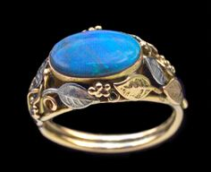 ARTS & CRAFTS  Ring   Gold Silver Opal  American, c.1920