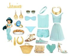 """Jasmine Disneybound - Summer Edition"" by msmith22 ❤ liked on Polyvore featuring moda, Melissa Odabash, The Row, Converse, Kate Spade, L. Erickson, The Cambridge Satchel Company, Brooks Brothers, Allurez y Zara"