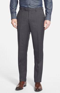 BOSS 'Sharp' Flat Front Stripe Wool Trousers (Online Only)