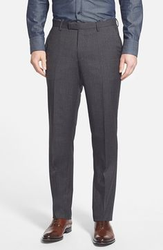 BOSS 'Sharp' Flat Front Stripe Wool Trousers (Online Only)