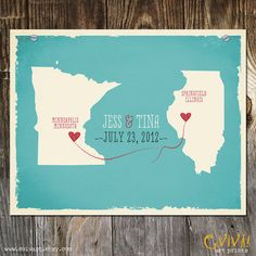 Custom Wedding Print - Geography Love Collection - US States Map 11x14 inches Customized Print on Etsy, $40.00
