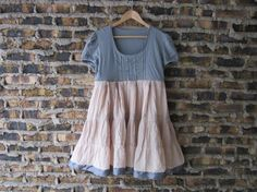Upcycled Bohemian Babydoll Dress// Empire Waist Dress// Grey and Tea Stained Cotton Eyelet Dress with Ribbon // Large