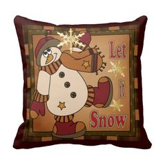 Holiday Snowman Decorative Pillow