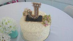 Beautiful shabby chic cake with DIY monogram. Perfect graduation cake. Burlap and chalkboard