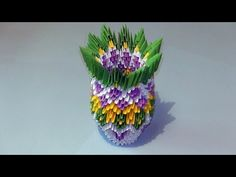3D origami how to make a vase modular origami tutorial - YouTube