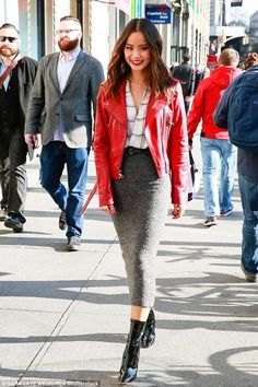 Jamie Chung wearing Babaton Beau Blouse in Espace and Parker Belfast Jacket