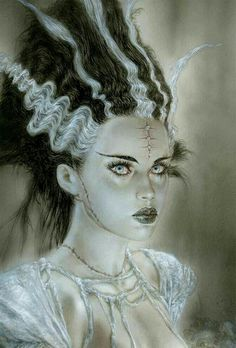 Luis Royo, facial close-up of Replicant for Frankenstein's Monster, limited edition, Laberinto Gris. Frankenstein Wife, Queen Anime, Wolf, Frankenstein's Monster, Monster Mash, Luis Royo, Maila, Famous Monsters, Classic Monsters