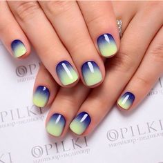Accurate nails, Color transition nails, Fashion nails 2017, Ideas of gradient nails, Rainbow nails, Winter gradient nails, Yellow and blue nails