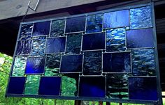 Stained Glass Panel Blues by StainedGlassRoxanneK on Etsy
