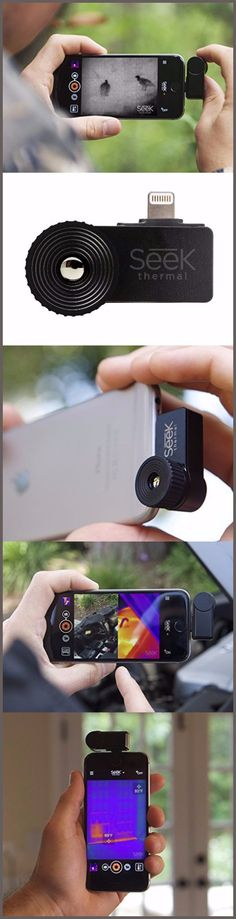 Thermal Imaging Camera For Your Smartphone - - The Seek Termal XR Imager is an insanely cool product. By attaching this product to your smartphone, you can transform your phone into thermal imaging . High Tech Gadgets, Gadgets And Gizmos, Electronics Gadgets, Usb Gadgets, Cool Technology, Technology Gadgets, Technology Gifts, Smartphone, Survival