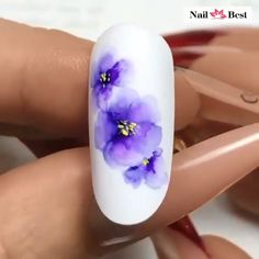 Beautiful purple floral nail design By: 3d Flower Nails, Flower Nail Designs, Elegant Nail Designs, Acrylic Nail Designs, Cute Acrylic Nails, Nail Art Designs Videos, Nail Design Video, Nail Art Videos, Rose Nail Art