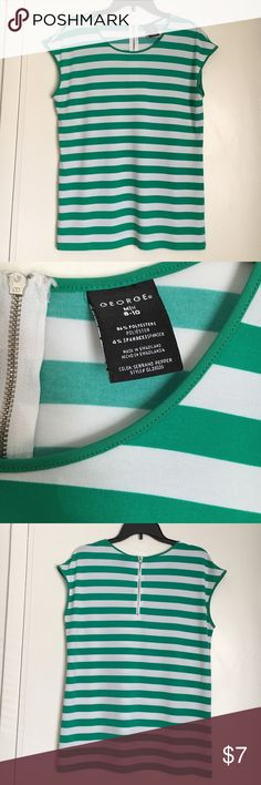 Women's Green & White Striped Shirt Women's George stripe top. In good condition. George Tops Tunics