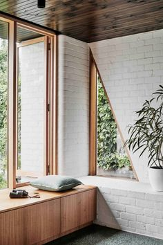 Knights' Brunswick West House Gets a Modern Renovation and Addition pin + insta // @ f o r t a n d f i e l d ♥ triangle window, wood paneling with white brickpin + insta // @ f o r t a n d f i e l d ♥ triangle window, wood paneling with white brick Brick Interior, Interior Exterior, Interior Design Kitchen, Modern Interior, Interior Ideas, Interior Styling, White House Interior, Exterior Windows, Wall Exterior
