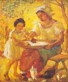 Artwork by Anita Magsaysay-Ho, Mother and Child, Made of oil on wood Mother And Child, Oil, Children, Artist, Artwork, Painting, Mother Son, Young Children, Boys