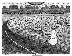 Snow Tramp by Eli Helman, 8x10, Micron pen ink on paper