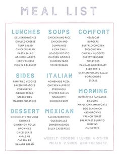 An example of my Master Meal List. An example of my Master Meal List. Monthly Meal Planning, Family Meal Planning, Budget Meal Planning, Budget Meals, Family Meals, Weekly Meal Plan Family, Weekly Dinner Plan, Monthly Menu, Meal Planning Printable