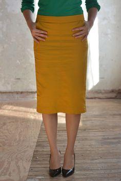 Flat Front Mustard Colored Denim Skirt | What2Wear | Pinterest ...