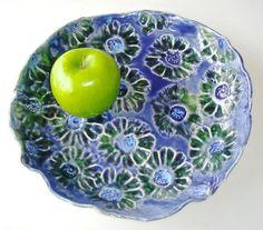 Ceramic bowl, Pottery bowl, Decorative bowl, Hand Painted, Indigo, Midnight Blue, Emerald Green, Flower bowl, serving bowl, appetizer bowl,