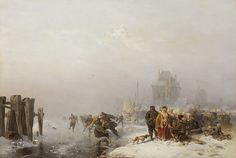 Carl Hilgers - IJspret bij een bevroren rivier (1886)