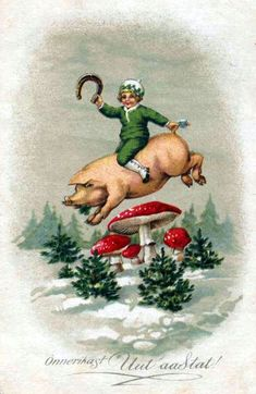 Good luck for the new year! Noel Christmas, Christmas Projects, Vintage Postcards, Vintage Images, Weird Vintage, Pig Art, Mushroom Art, New Year Card, Vintage Greeting Cards