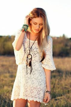 Summer White Lace Dress.
