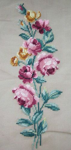 Vintage Bucilla Pink Gold Rose PREWORKED Design Needlepoint Canvas | eBay