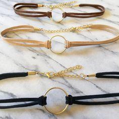 Gold Ring Choker- Black Choker with Gold Ring- Black Choker Gold Charm