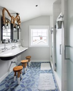 nautical Bathroom Decor The Kohler Brockway Sink has a vintage inspired trough look with three gooseneck faucets and space underneath to maximize storage for a set of Serena amp;