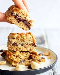 Oat Cookie Sandwich Bars With Caramel And Chocolate