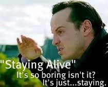 we are the fandom that waited three years for moriarty's Staying alive ringtone to go off!!!!