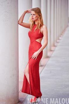 red dress elegant fa