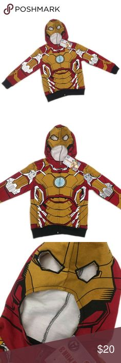 NWT Iron Man 3 Mask Hoodie, 4 NWT Iron Man 3 Mask Hoodie, 4; has stains as pictured. These are actual photos. Shirts & Tops Sweatshirts & Hoodies