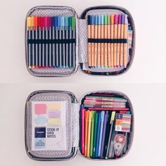 An overview of my pencil case! (I use the Kipling 100 pens case ! Kipling 100 Pens Case, School Suplies, Stationary School, Stabilo Boss, Cute School Supplies, School Hacks, Study Motivation, School Organization, Copics