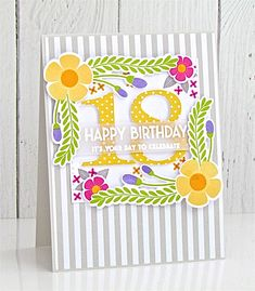 Happy Birthday Card by Michelle Leone for Papertrey Ink (February 2018)