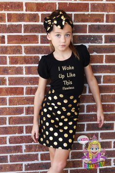 A personal favorite from my Etsy shop https://www.etsy.com/listing/243964018/girls-gold-black-polkadot-skirt-pencil
