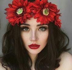 Imagen de girl, flowers, and red