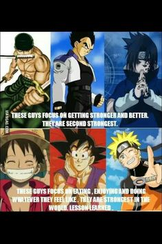 Yes and no. Luffy trained two years and learned Haki so he could protect his nakamas afther Ace died (What btw is the reason Ace must to die :( ) And Naruto always fight to become Hongake. And Goku... idw, i don't watch Dragon Ball Z (shame on me!)