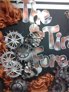 Whole school art project. The tin forest – recycled Classroom Display Boards, Classroom Displays, Classroom Ideas, Forest Book, Forest Art, Primary School Art, Art School, School Stuff, School Ideas
