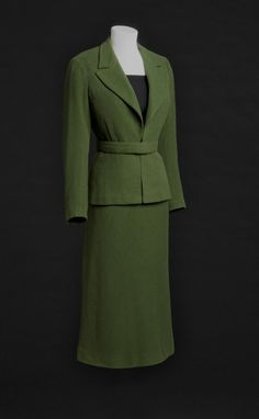 marcel rochas olive green wool twill suit jacket + skirt | 1930s | #vintage #1930s #fashion