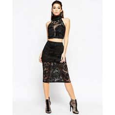 ASOS NIGHT All Over Lace Pencil Skirt ($63) ❤ liked on Polyvore featuring skirts, black, black lace skirt, knee length lace skirt, mini skirt, asos skirts and tall skirts