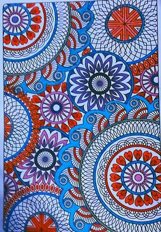 Mandalas,colored with gel pens and sharpie ultra fine point ,coloring by Judy Soto.