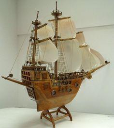 Large Vintage Sailing Vessel Boat Model Ship by WoodHistory