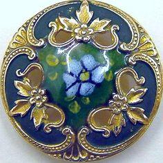 25mm Antique Green, Blue  and Gold Champlevé Pierced Enamel Button.